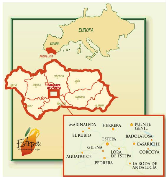 セビリア県のエステパとコルドバ県のプエンテ・ヘニルに跨る場所に位置