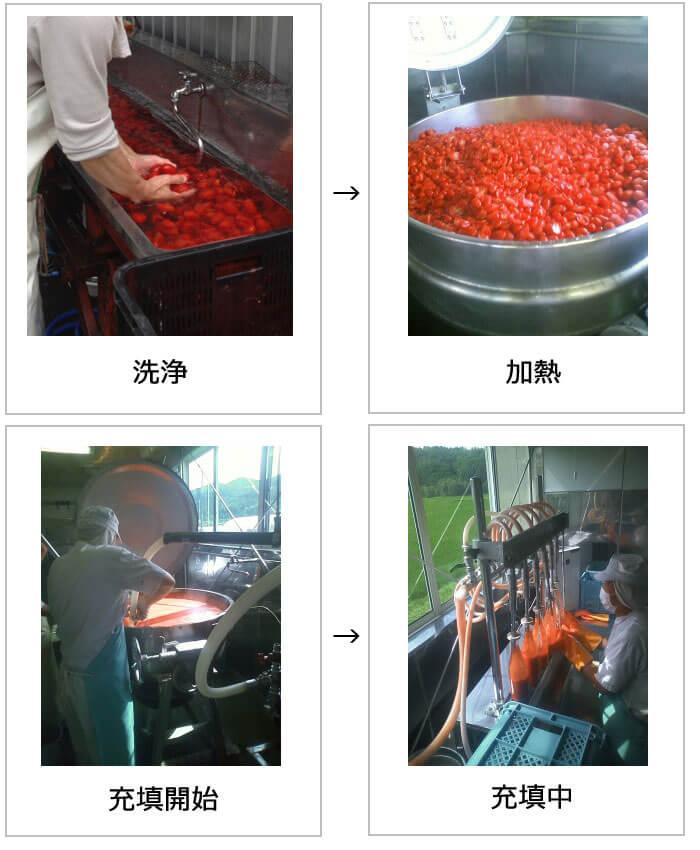 有機シシリアンルージュ トマトジュース作業工程